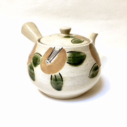 Camellia and Leaf Beige Teapot