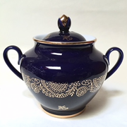 Golden Cobalt Sugar Bowl with Lid