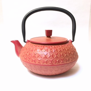 Orange Grid Iron Teapot