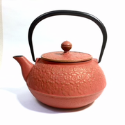 Red Sakura Flower Iron Teapot