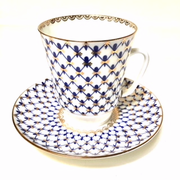 Solid Cobalt Net Cup and Saucer