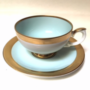 Weimar Porcelain Celadon and Gold Cup and Saucer