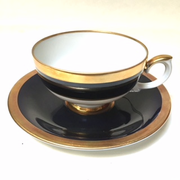 Weimar Porcelain Cobalt and Gold Cup and Saucer