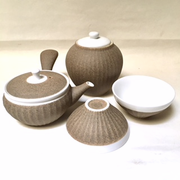 White Tea Set with Sand Finish