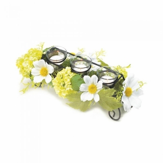 Blooming Faux Daisy Candle Holder