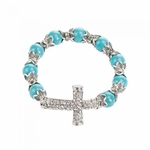 Cross Beaded Stretch Bracelet