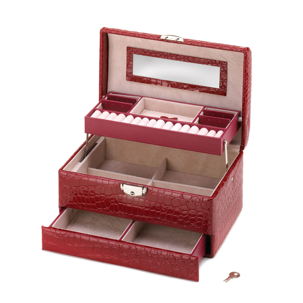 Deluxe Red Jewelry Box at Eastwind Wholesale Gift Distributors