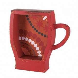 Distressed Red Coffee Cup Shelf