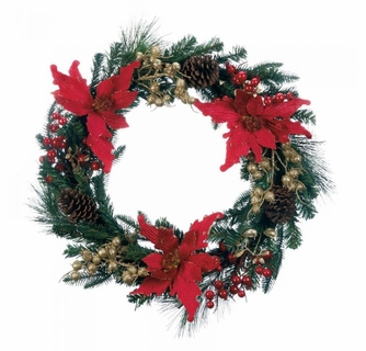 Faux Poinsettia Christmas Wreath Wholesale At Eastwind Wholesale