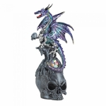 Mystical Jeweled Dragon Skull Figurine
