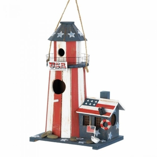 Patriotic Lighthouse Birdhouse