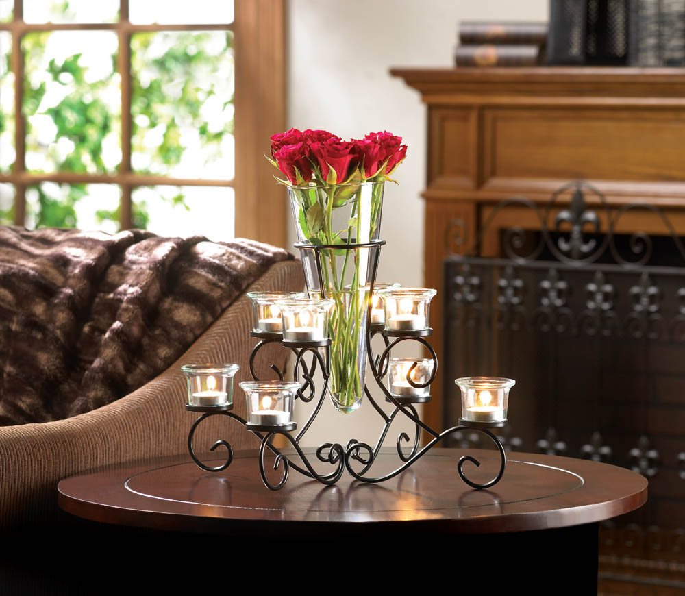 Scrollwork candle stand centerpiece vase at eastwind