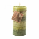 Serenity Leaf Tall Pillar Candle