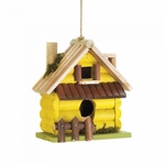 Yellow Log Home Birdhouse