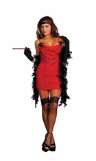 ADULT RUBY RED SEXY HOT FLAPPER COSTUME