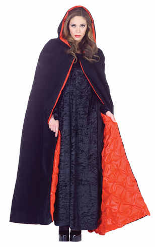 "CAPE DELUXE HOODED VELVET 63"" COSTUME"
