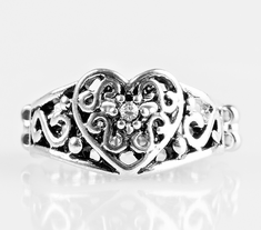 Dearly Beloved Heart White Ring