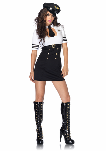 FIRST CLASS CAPTAIN BLACK/WHITE ADULT SEXY COSTUME