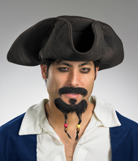 PIRATE HAT MOUSTACHE/GOATEE ADULT