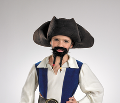 PIRATE HAT W MOUSTACHE/GOATEE CHILD