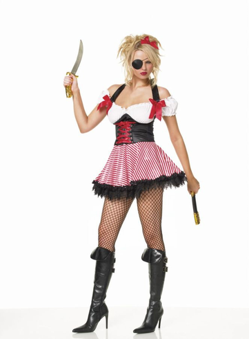 PIRATE WENCH HALTER DRESS ADULT COSTUME