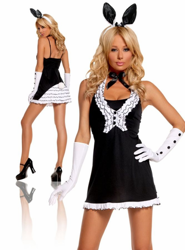SEXY BLACK TIE BUNNY ADULT COSTUME