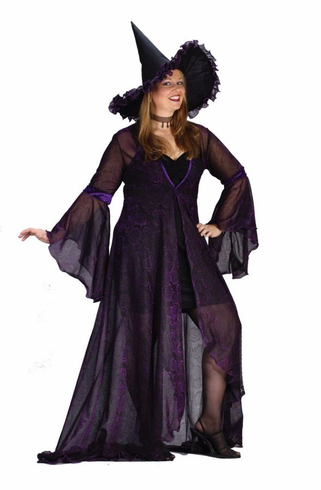 WITCH SHIMMER ROSE PURPLE ADULT PLUS SIZE COSTUME