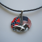 New Leather Necklace Eagle With Confederate Rebel Flag Metal Charm Pendant Necklace