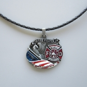 Jeansfriend New Hero Fire Firefighter Metal Charm Pendant Leather Necklace
