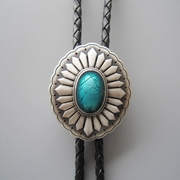 Original Silver Plated Celtic Oval Enamel Wedding Bolo Tie Leather Necklace
