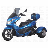 Q-6 50cc Trike/Scooter - Deluxe Upgraded Model - Vibration damping, upgraded fuel system, free trunk, windshield and helmet