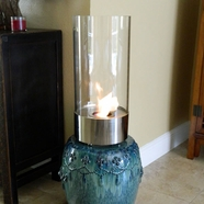 Nu-Flame Cristallo Glass Pillar Stainless Steel Tabletop Fireplace