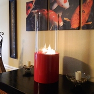 Nu Flame Doppio Rouge Tabletop Glass Cylinder Fireplace