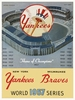 1957 WORLD SERIES New York Yankees vs Milwaukee Braves Poster