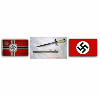 2 German Nazi Third Reich Flags 1 German Nazi SS Dagger