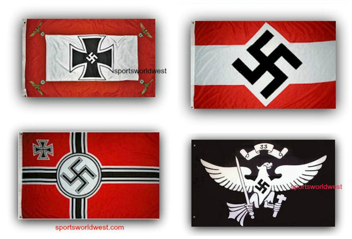 4 German Nazi Third Reich World War II Flags