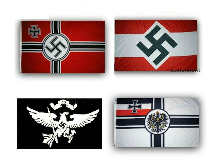 4 German Nazi Third Reich Flags WWII