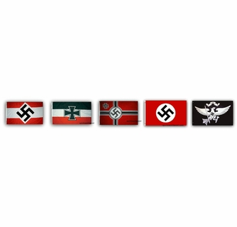 5 German Nazi Third Reich World War II Flags
