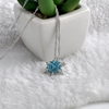 Blue Crystal Snowflake Zircon Flower Silver Jewelry