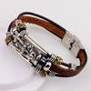 Bracelet silver men leather bracelet