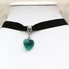 Choker Necklace & Green Crystal Heart Pendant  - Ships FREE