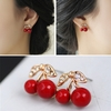 Cute Red Cherry Leaf Beads Rhinestone Earrings jewelry