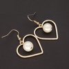 Trendy Golden Sweet Heart Glass Faux Pearl Pendant Earrings