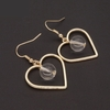 Trendy Golden Sweet Heart Glass  Pendant Earrings