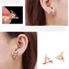 Exquisite Triangle Pierced Crystal Zircon Stud Earrings Jewelry