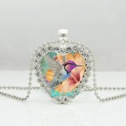 Hummingbird Crystal Heart Necklace