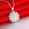 Silver Flower Pendant Necklace Jewelry