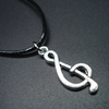 Trendy Zinc Alloy Music Note Pendant Necklace