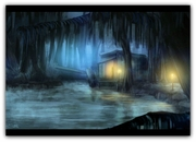 Night Time in the Bayou Art Print - FREE Shipping