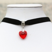 Velvet Choker Necklace & Red Crystal Heart Pendant Jewelry - Ships FREE